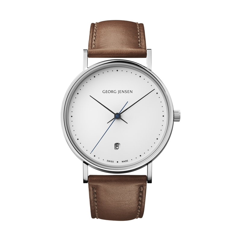 KOPPEL - 38 mm, Quartz, white dial, brown leather strap