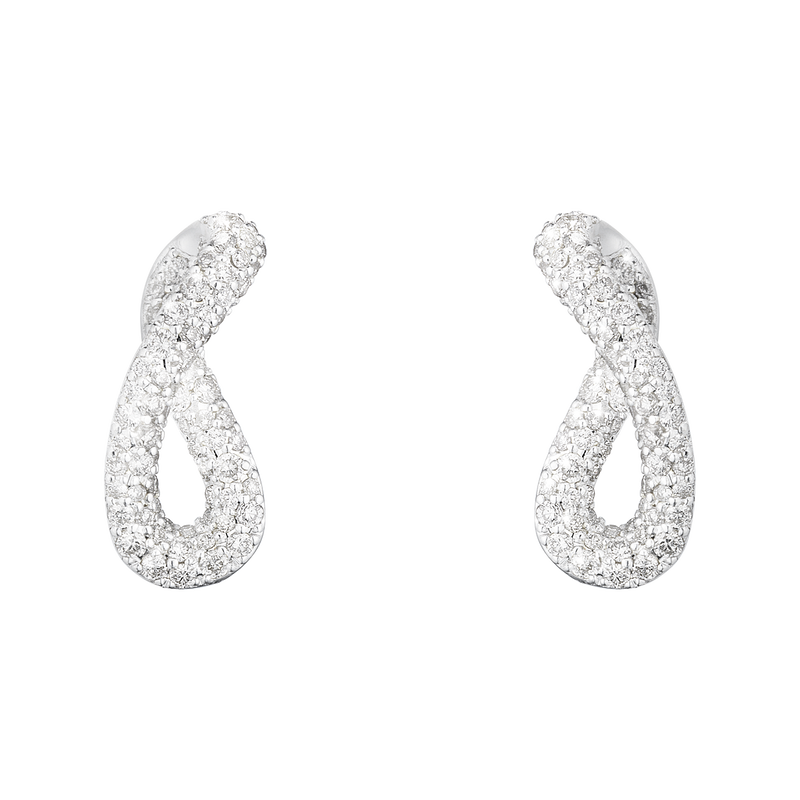 INFINITY earrings - sterling silver with brilliant cut diamonds