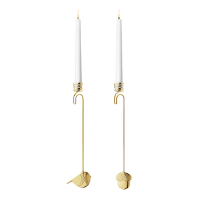 2018 Candleholder Acorn and Winter Bird set - gold plated