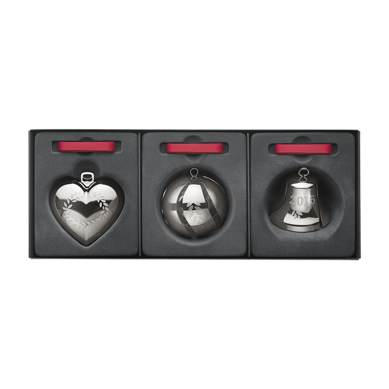 2016 Gift set, Heart, Ball, Bell, palladium plated