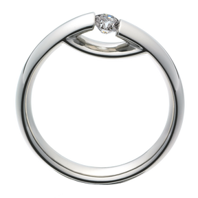 CENTENARY ring - 18 kt. white gold ring with brilliant cut diamond