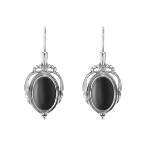 2017 HERITAGE earrings - oxidised sterling silver with black onyx