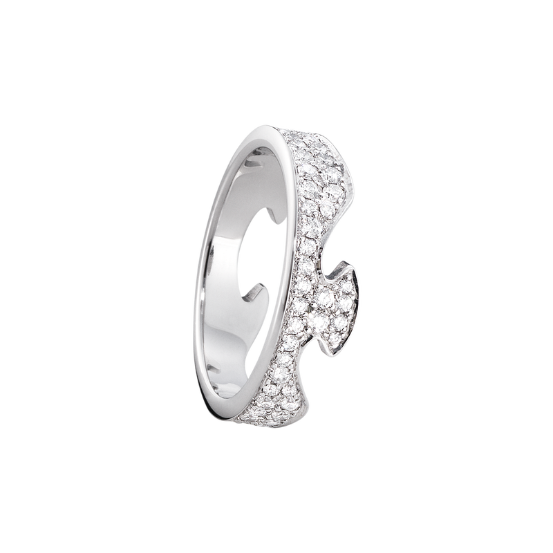 FUSION end ring - 18 kt. white gold with pavé set brilliant cut diamonds
