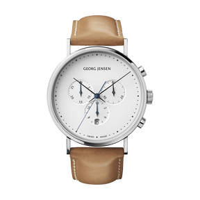 KOPPEL - 41 mm, Chronograph, white dial, tan leather strap