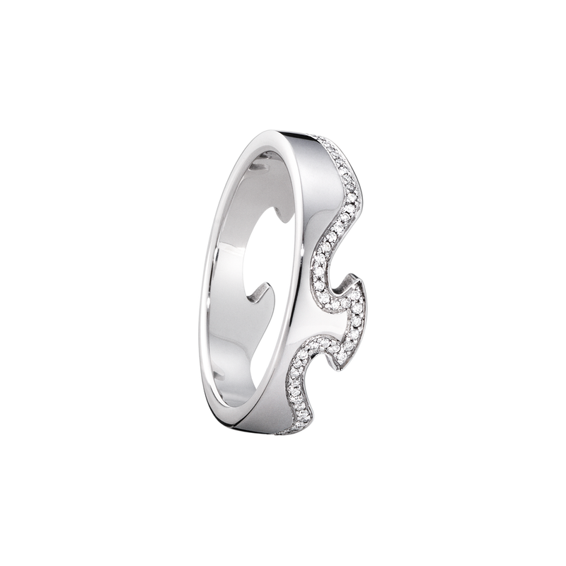 FUSION end ring - 18 kt. white gold with brilliant cut diamonds