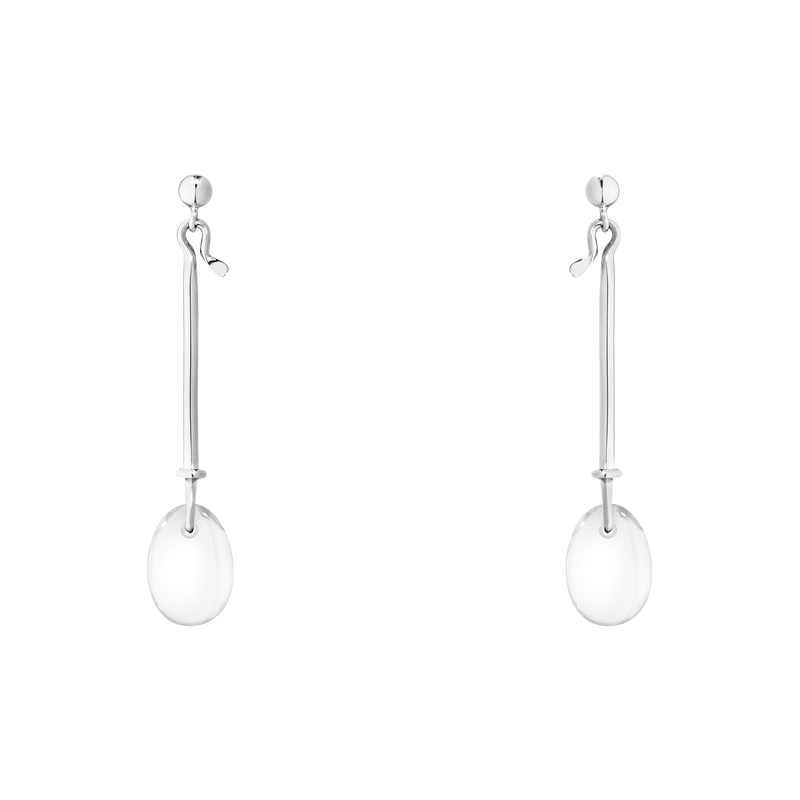 DEW DROP earrings - sterling silver with rock crystal