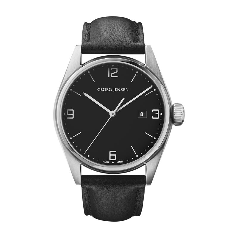 DELTA CLASSIC - 42 mm, Quartz, black dial, black leather strap