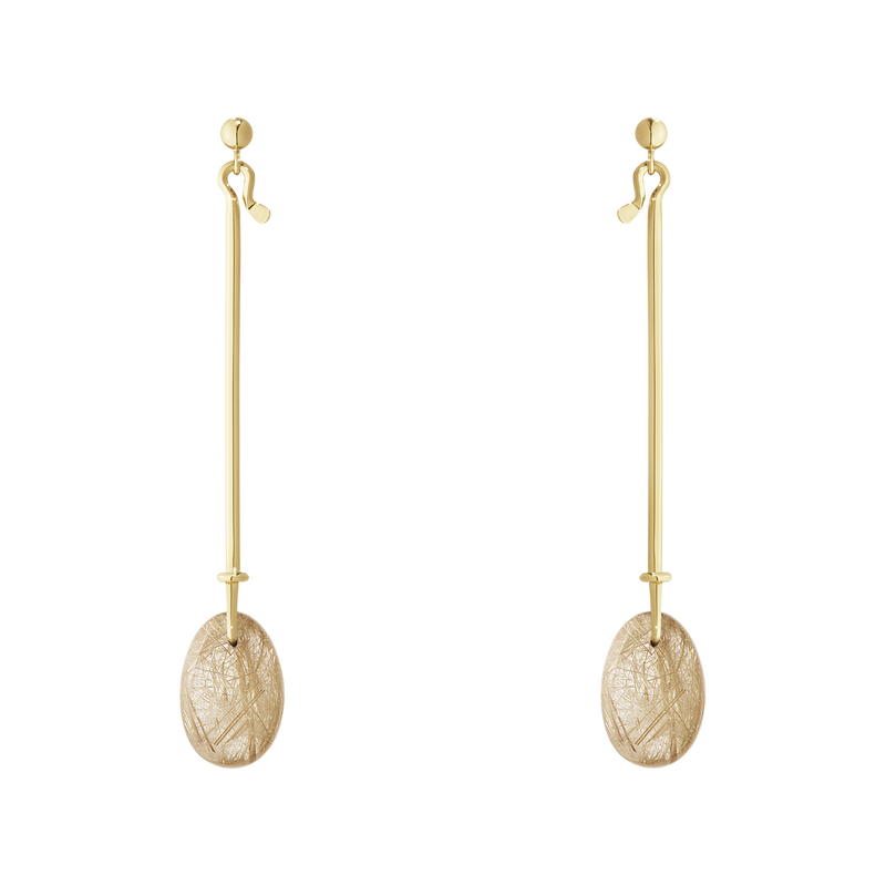DEW DROP earrings - 18 kt. yellow gold with gold rutilated quartz