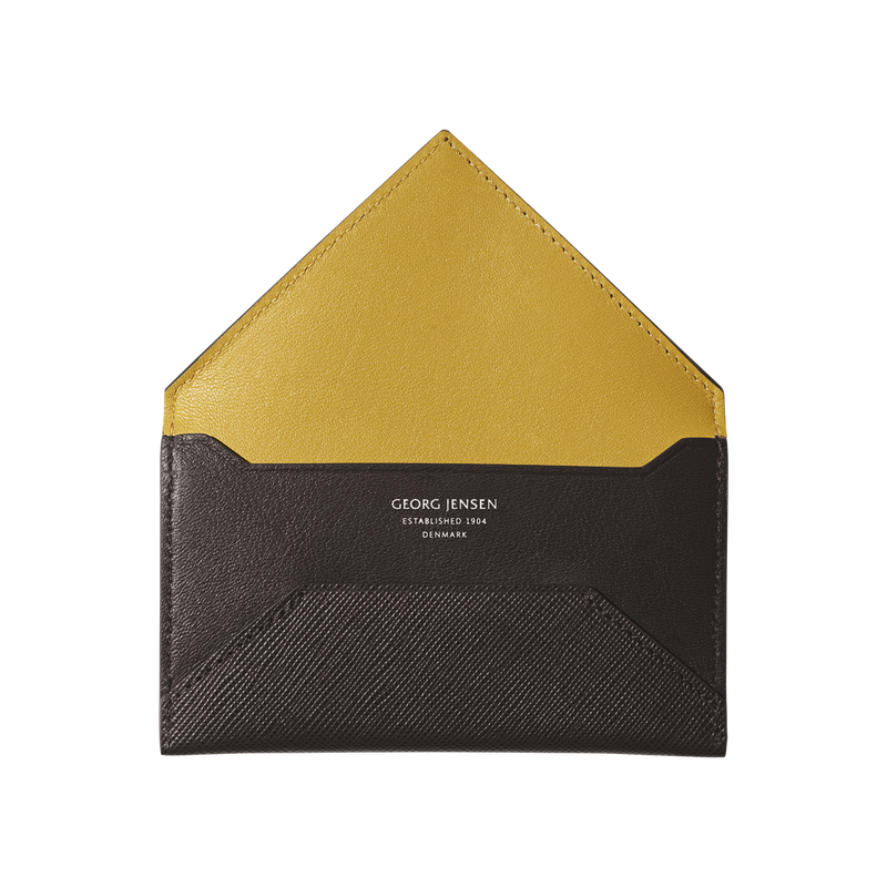 BUSINESS CLASSIC business card holder, brown and yellow
