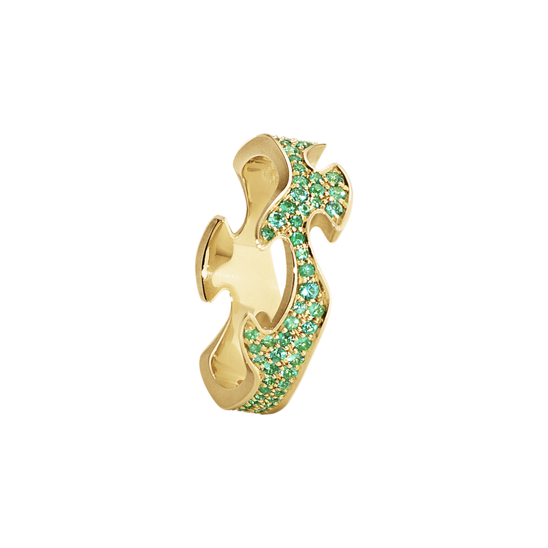 FUSION centre ring - 18 kt. yellow gold with emeralds