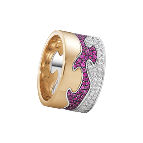 FUSION 3-piece ring - 18 kt. rose gold, white gold with pink sapphires and brilliant cut diamonds