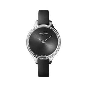 CONCAVE - 30 mm, Quartz, sunray dial, diamond bezel, black leather strap