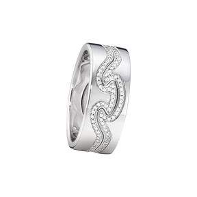 FUSION 2-piece ring - 18 kt. white gold with brilliant cut diamonds