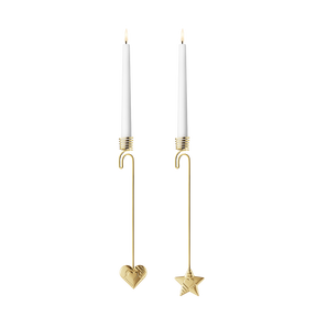 2019 Candleholder set, Heart and Star - Gold plated| Georg Jensen