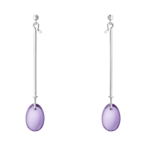 DEW DROP earrings - sterling silver with amethyst
