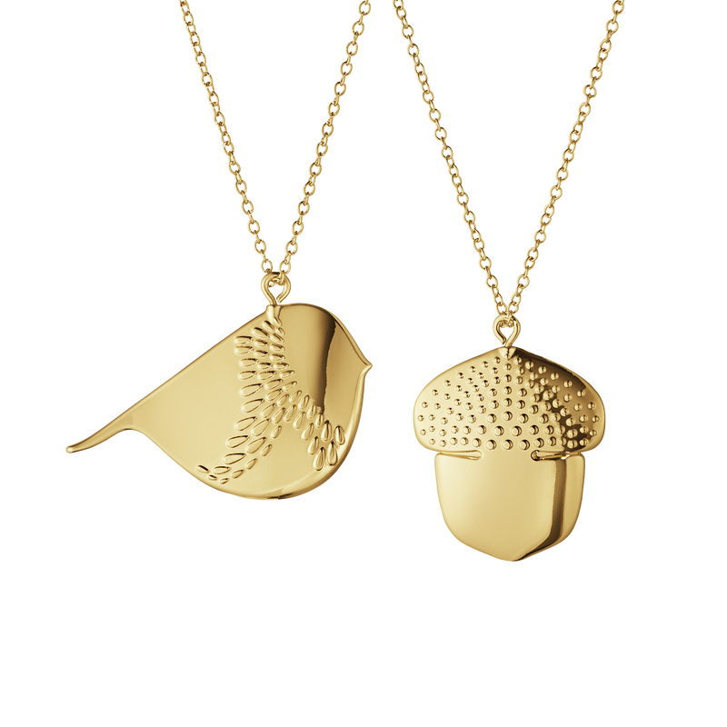 2018 Ornament Acorn and Winter Bird set - gold plated