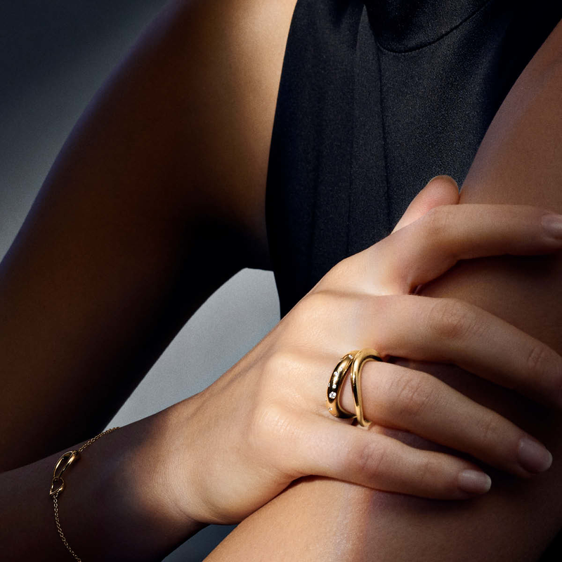 Enorm OFFSPRING ring in 18k yellow gold with diamonds | Georg Jensen SF-02