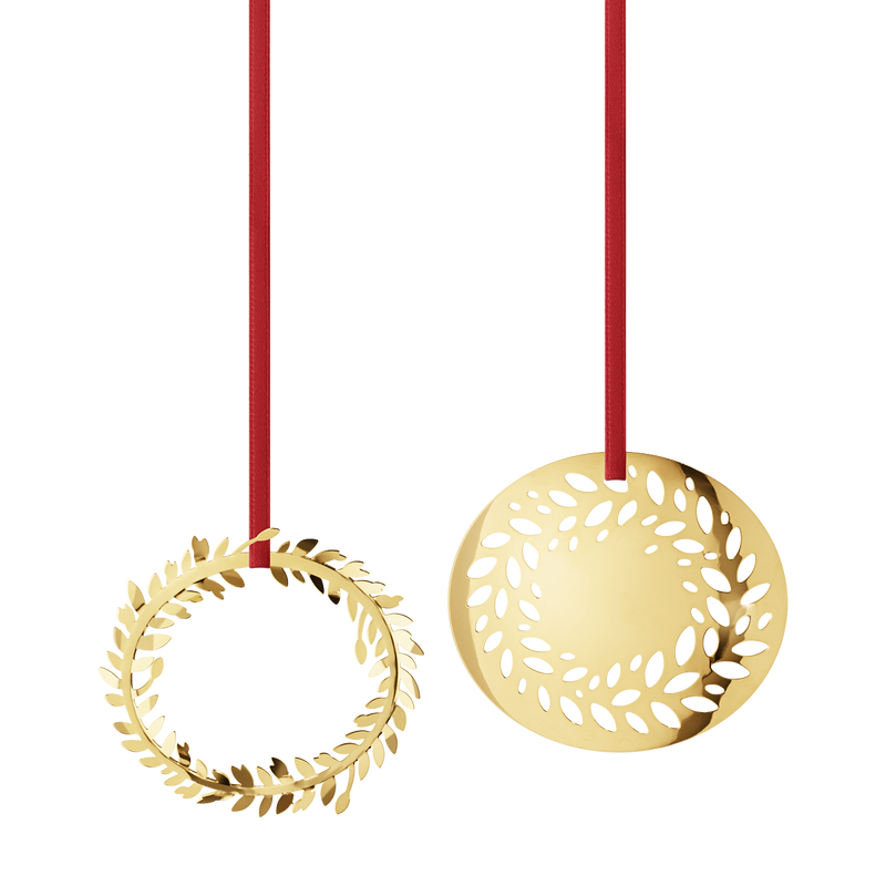 2016 Holiday Ornament set, Wreath and Solid Wreath, gold plated