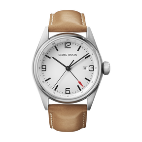 DELTA CLASSIC - 42 mm, Quartz, GMT, white dial, tan leather strap