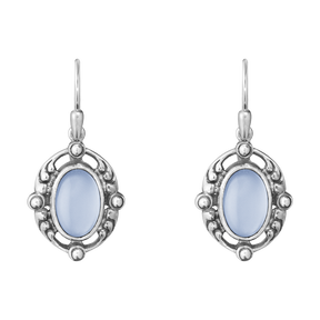 2018 HERITAGE earrings - sterling silver with blue chalcedony