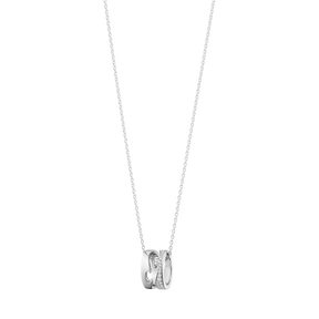 FUSION open pendant – 18 kt. white gold with pavé 0.22 ct