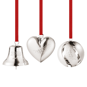 2018 Heart, Bell and Ball Collectibles gift set - palladium plated