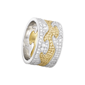 FUSION 3-piece ring - 18 kt. white gold with brilliant cut diamonds and yellow gold with yellow sapphires