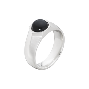 ART DECO ring - sterling silver with black onyx