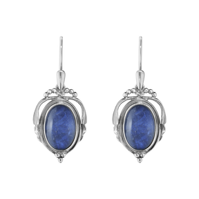 2017 HERITAGE earrings - oxidised sterling silver with sodalite and rock crystal