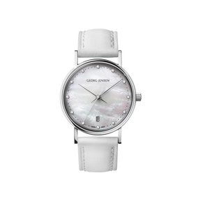 KOPPEL - 32 mm, Quartz, white mother-of-pearl dial, diamond bezel, white leather strap