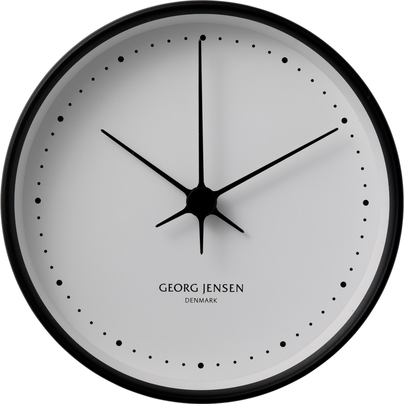 KOPPEL 22 cm wall clock, black stainless steel with white dial