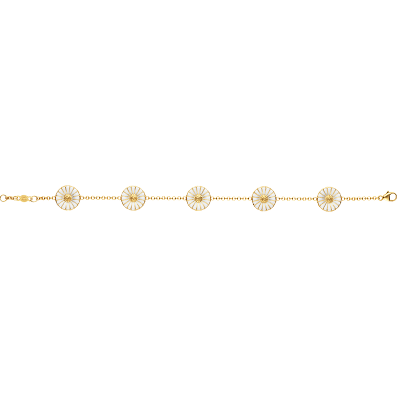 DAISY bracelet with double sided daisies in gold plate and white enamel