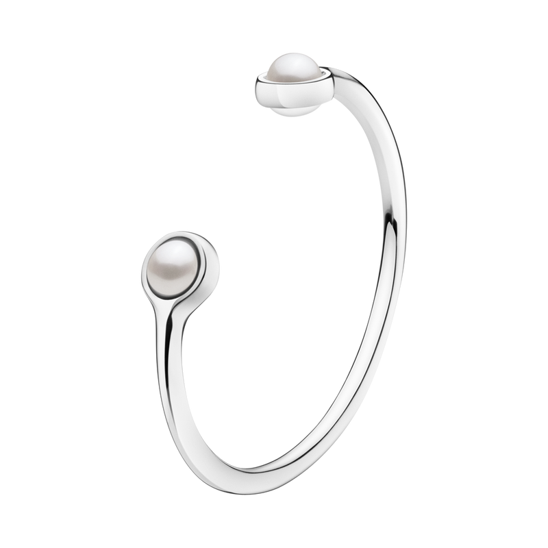 SPHERE bangle - sterling silver with white fresh water cultured pearls