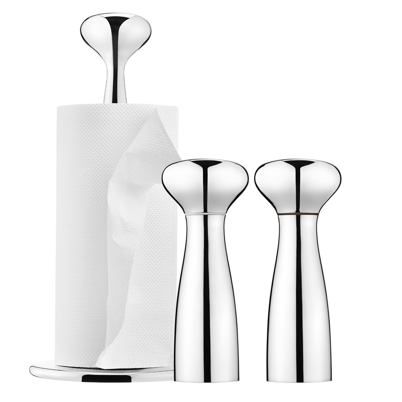 ALFREDO kitchen roll holder and salt and pepper mills