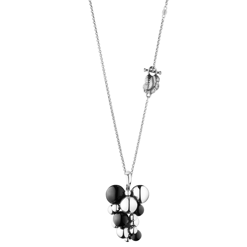 MOONLIGHT GRAPES hänge - sterling silver med svart onyx, stor
