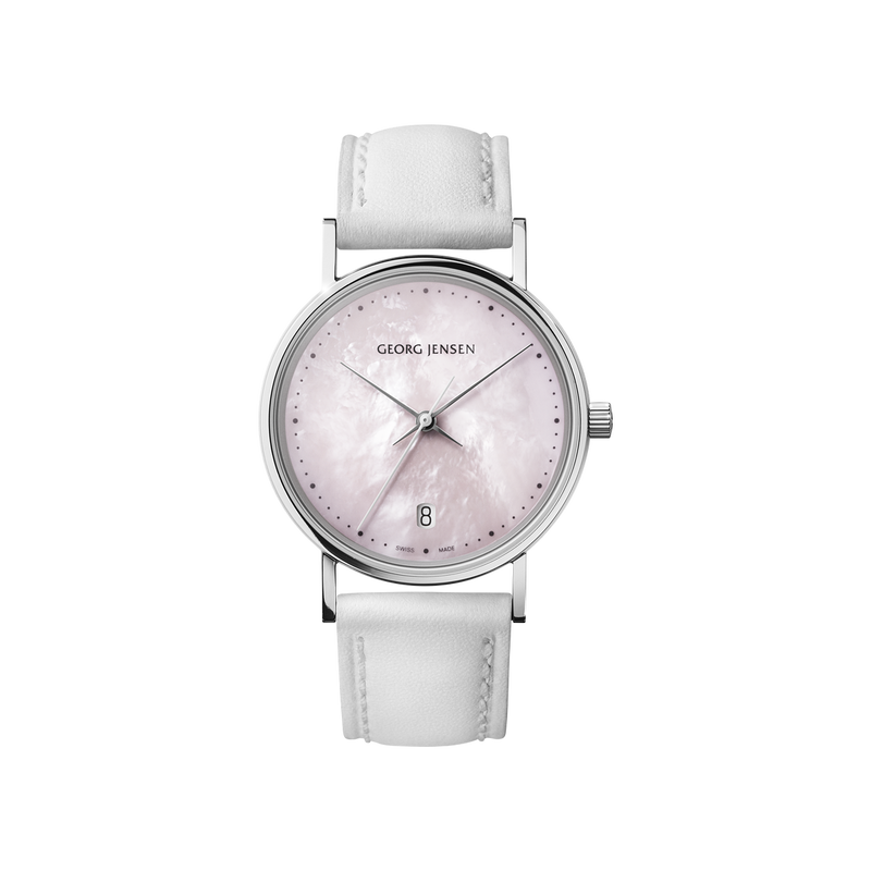 KOPPEL - 32 mm, Quartz, rose mother-of-pearl dial, white leather strap