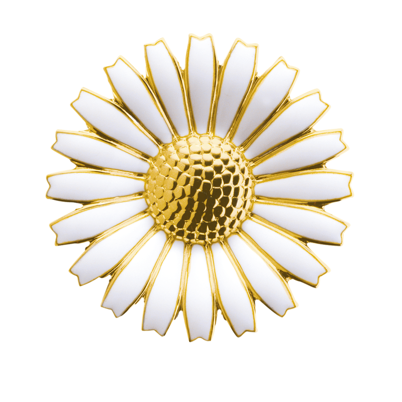 DAISY brooch/pendant with white enamel and gold (43 mm)