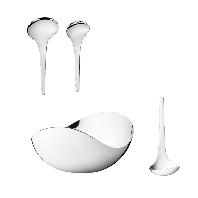 BLOOM, giftset, 3 pcs, bowl with serving spoons and sauceladle