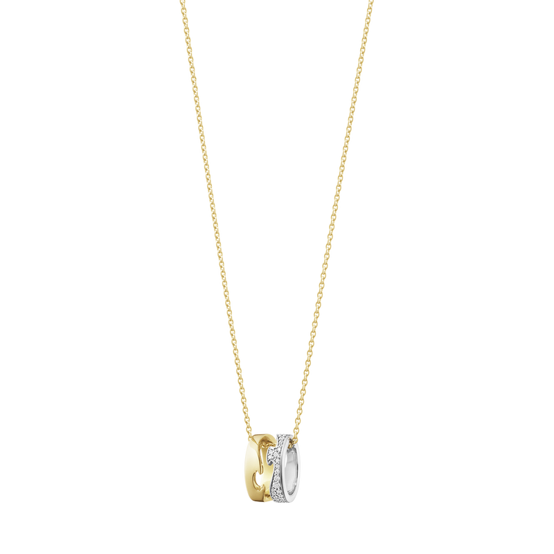 FUSION open pendant – 18 kt. yellow gold, white gold with pavé 0.22 ct