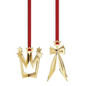 2013 Holiday Ornament set, Bow and Crown, gold plated