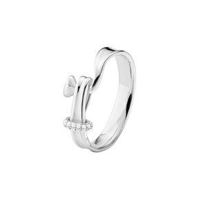 TORUN ring - sterling silver with brilliant cut diamonds