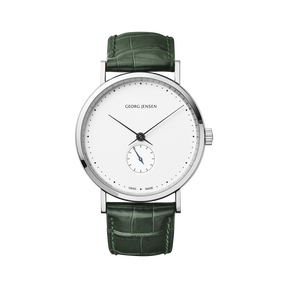 KOPPEL - 38 mm, Mechanical hand-wound, white dial, green alligator strap