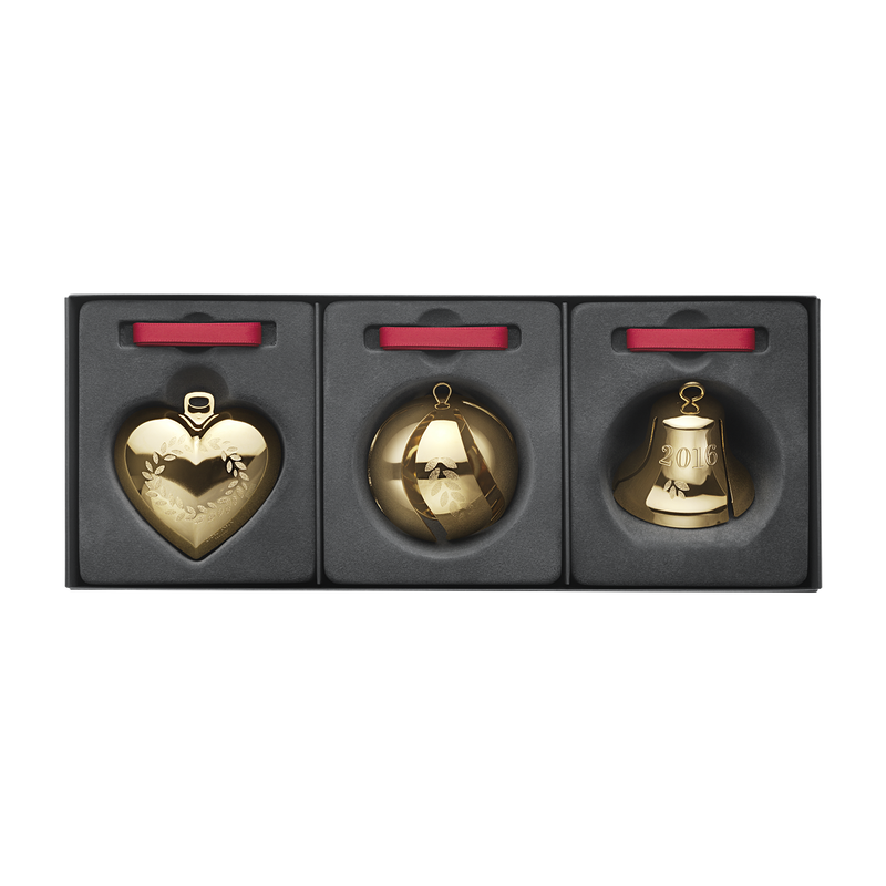 2016 Gift set, Heart, Ball, Bell, gold plated