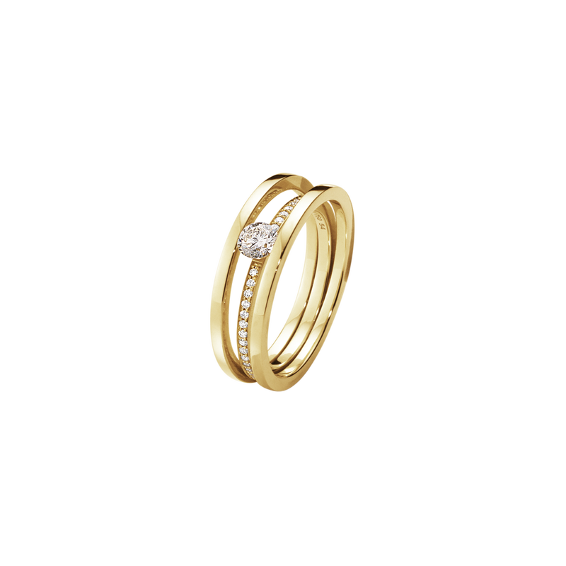 HALO solitaire ring - 18 kt. gold with brilliant cut diamonds