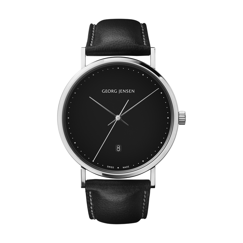 KOPPEL - 41 mm, Quartz, black dial, black leather strap