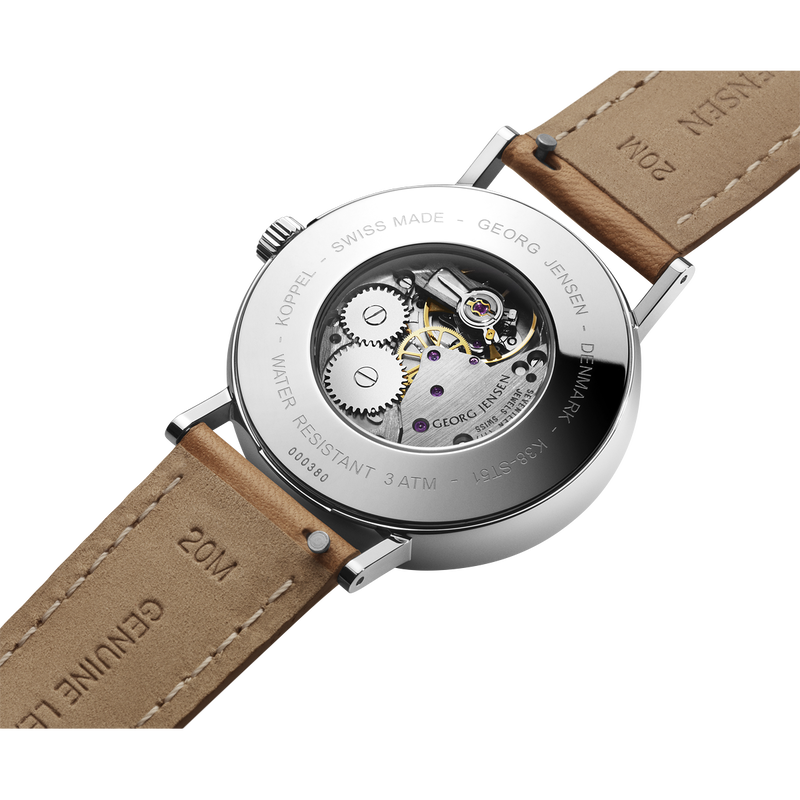 KOPPEL - 38 mm, Mechanical hand-wound, white dial, tan leather strap