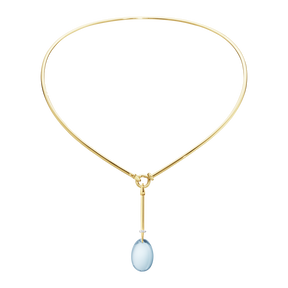 DEW DROP pendant - 18 kt. yellow gold with blue topaz and brilliant cut diamonds