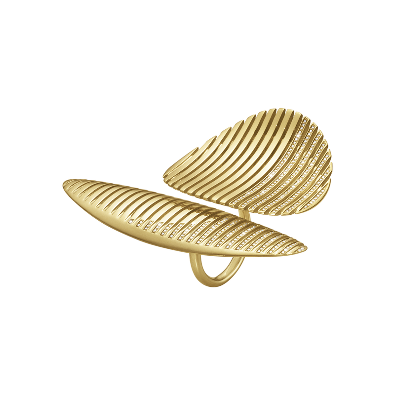 LAMELLAE twin ring - 18 kt. gold with brilliant cut diamonds