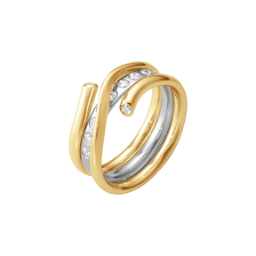 MAGIC ring-kombination - 18 karat gelbgold und weissgold mit diamanten in brillantschliff