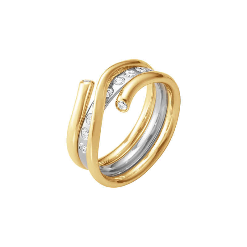 MAGIC ring combination - 18 kt. yellow gold and white gold with brilliant cut diamonds